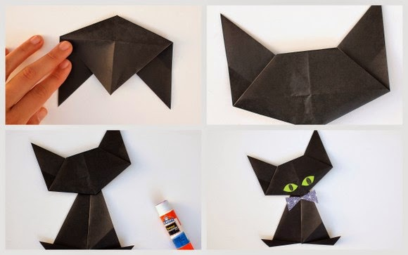 steps 11-12 to make an origami cat