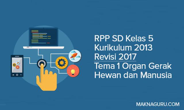 RPP SD Kelas 5 Kurikulum 2013 Revisi 2017 Tema 1 Organ Gerak Hewan dan Manusia