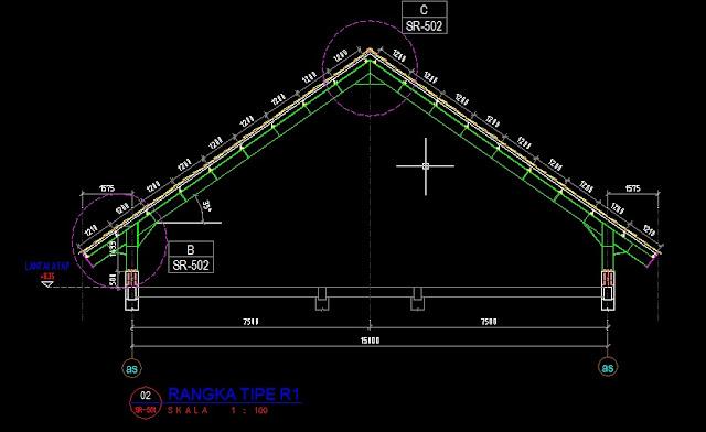 Rangka dan Detail Atap Baja Dwg Gratis