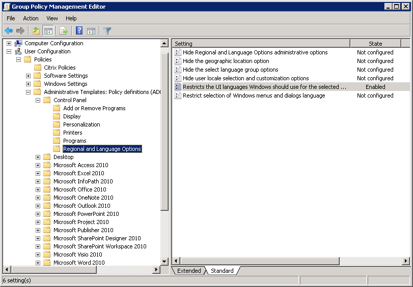 Configuring a Multilingual User Interface (MUI) Language using a