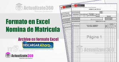 Nomina de Matricula en formato en Excel