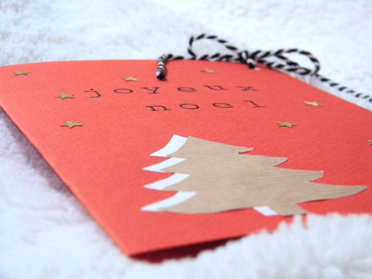 Carte de Noël carton rouge rouge DIY
