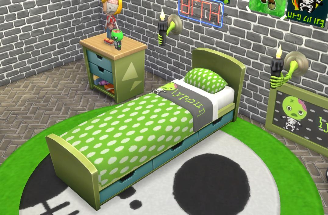 My Sims 4 Blog: Lil Green Zombie Bedroom Set by JosieSimblr