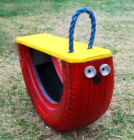 balanço infantil, balanço, reciclagem, upcyling, old tire, a casa eh sua, acasaehsua, playground
