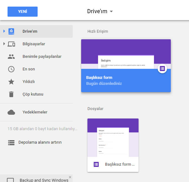 Google Drive Formları