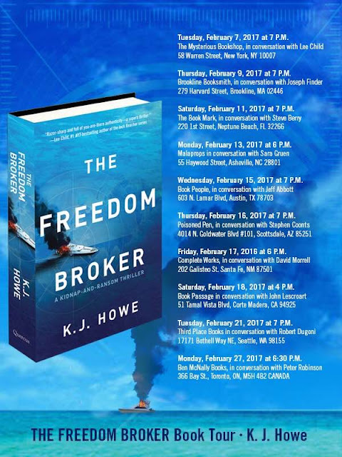 K.J. Howe, THE FREEDOM BROKER book tour!