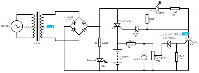 circuit schematic battery charger using scr