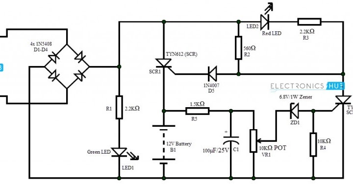 Circuit Schematic Battery Charger using SCR ~ ELTRONICSCHOOL