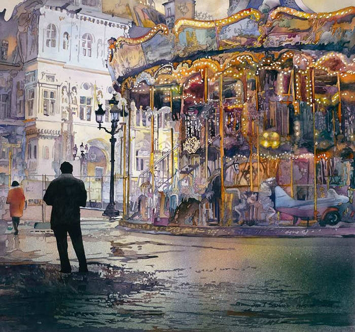 04-Carrousel-de-Paris-John-Salminen-Watercolor-Paintings-Taking-Glimpses-into-our-Life-www-designstack-co