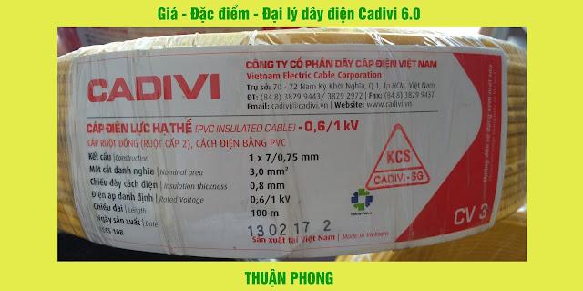 Giá - Đặc điểm - Đại lý dây điện Cadivi 6.0