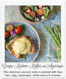 Asparagus works really well in these individual vegetarian muffins alongside the faux ham, egg and cheese.
