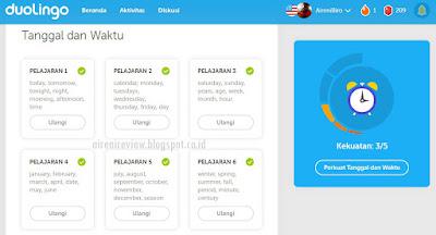 review pelajaran duolingo app