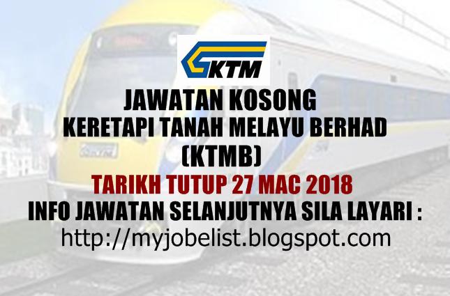 Jawatan Kosong Keretapi Tanah Melayu Berhad (KTMB) Mac 2018