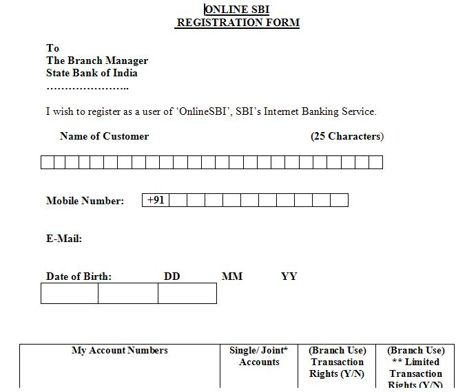 how to fill up rtgs form of bank of india