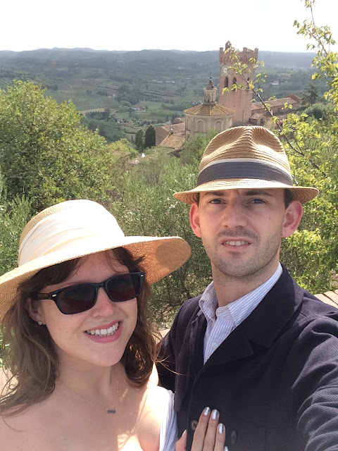 Katy & Paul with San Miniato cathedral and Tower of Matilde, Tuscany, Italy in Background