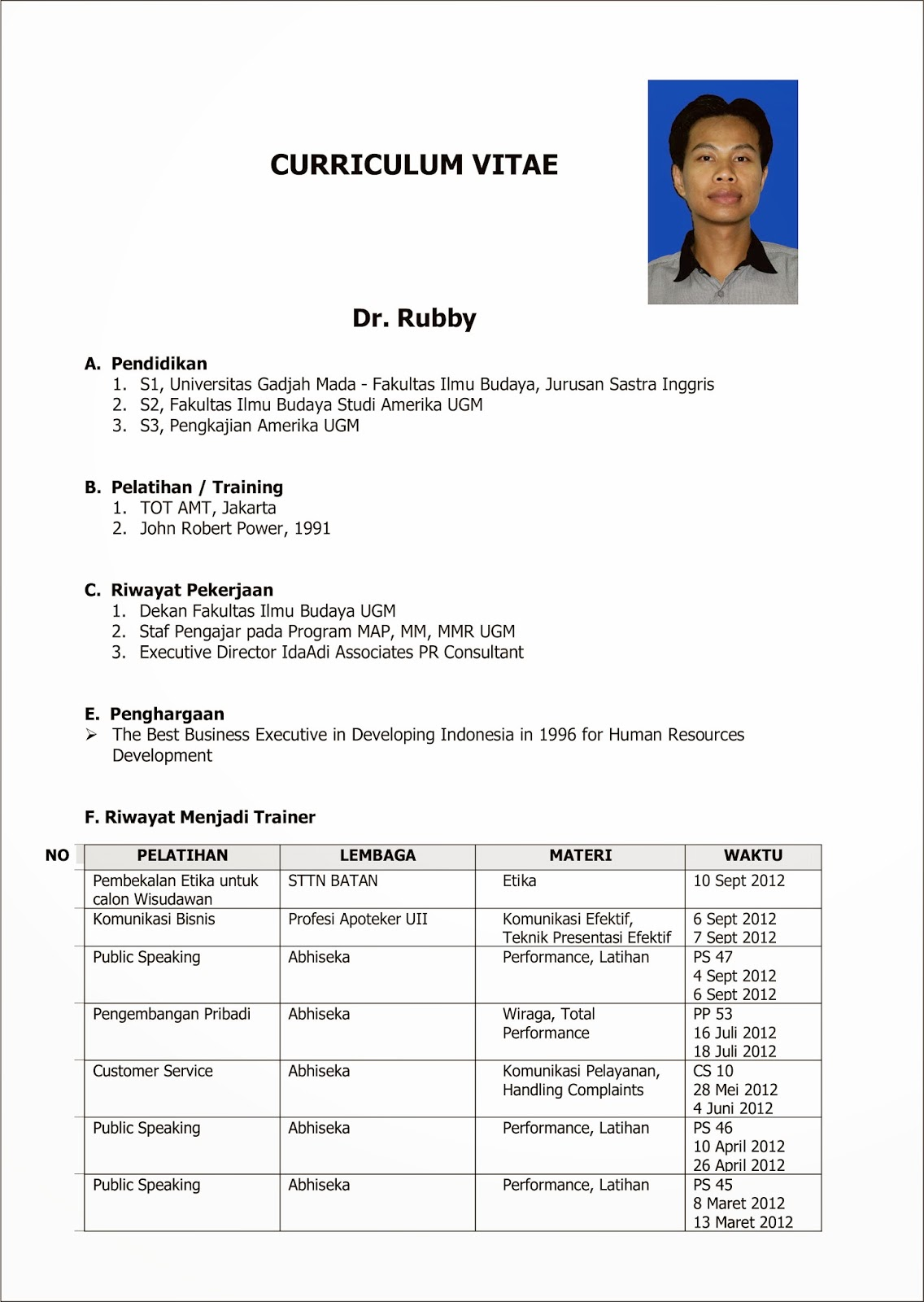 Curriculum Vitae Sample Bahasa Indonesia Azwg Tk