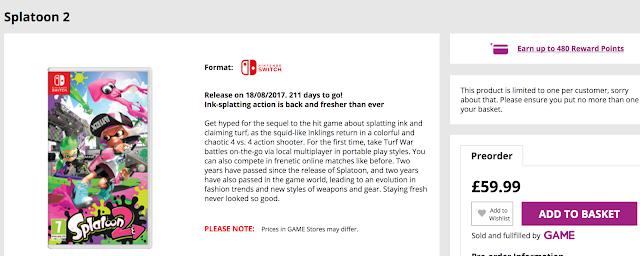 Splatoon 2 llegaría el 18 de agosto según GAME UK