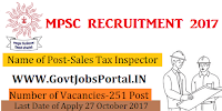 Maharashtra Public Service Commission Recruitment 2017- Sales Tax Inspector