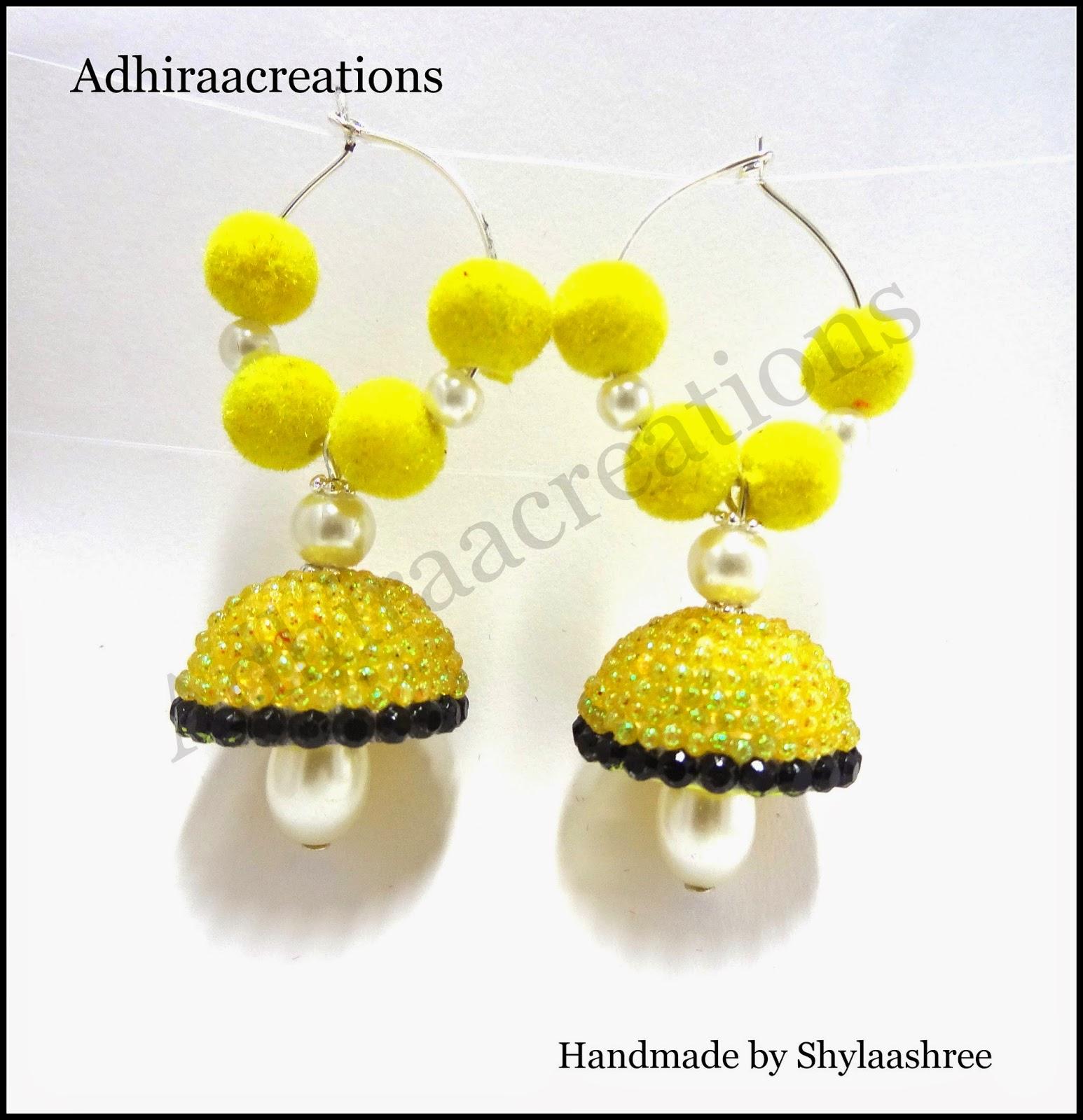 Adhiraacreations glitter jhumkas for Handmade paper creations