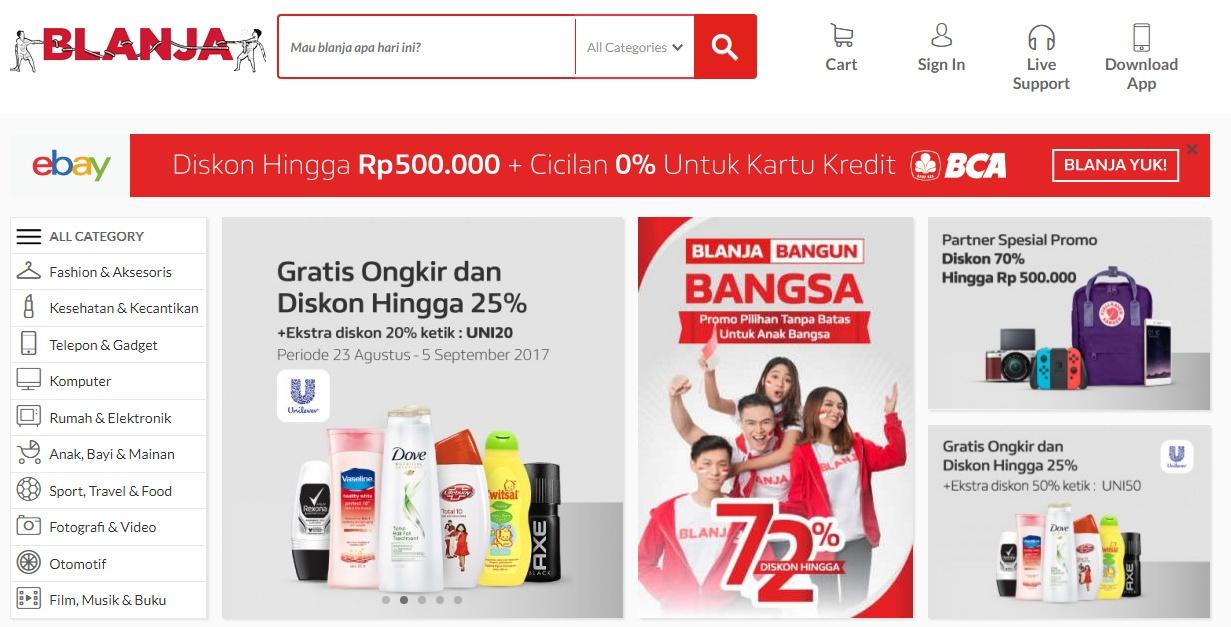Blanja.com merupakan sebuah joint venture antara Telkom Indonesia dan eBay.  Memiliki konsep sebagai online marketplace d86980f8cd
