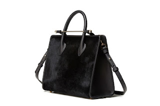Strathberry Midi Tote Black Haircalf