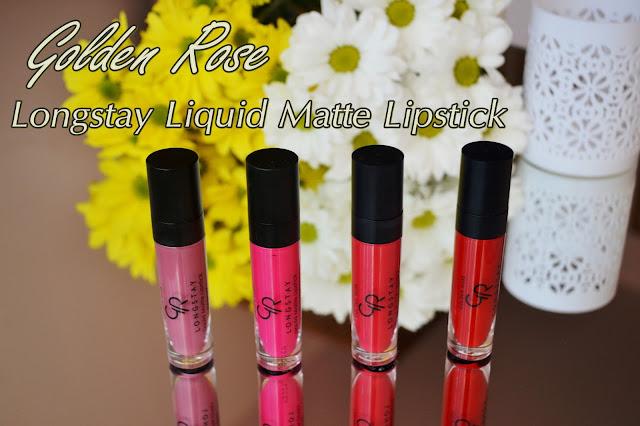 Golden Rose, Longstay Liquid Matte Lipstick 03,06,08,09 - swatche i efekt na ustach.