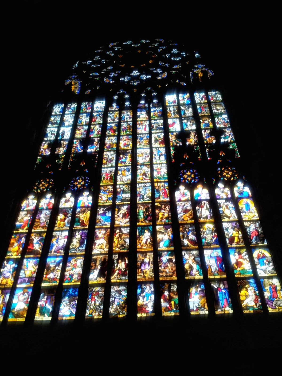 Stained glass windows inside the Duomo, Milan