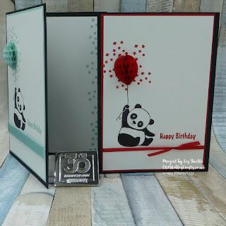 Party Pandas Meet Balloon Honeycombs Birthday Card