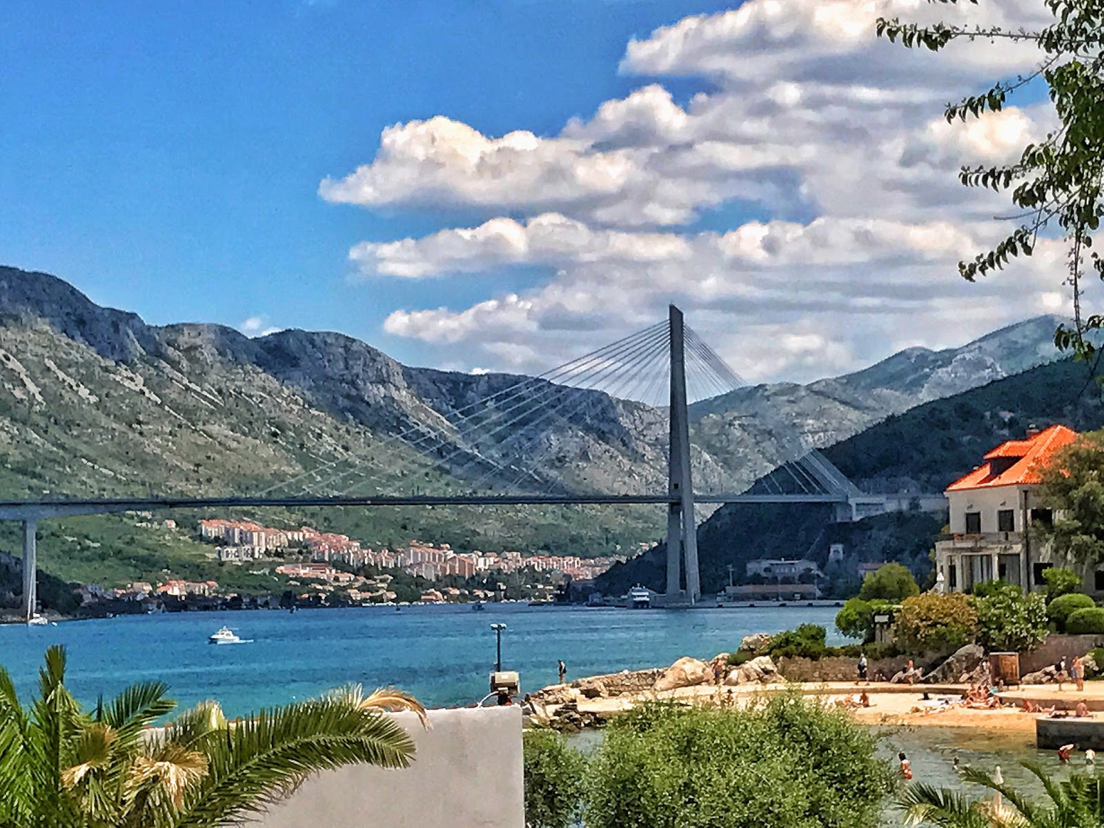 Dubrovnik suspension bridge view from Copacabana beach