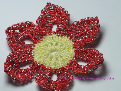 Crochet metallic flower 3