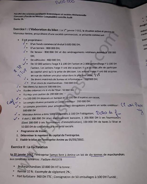 Exemple Concours Master Comptabilité Contrôle Audit - Fsjes Mohammedia