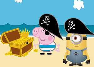 peppa pig george e minion piratas