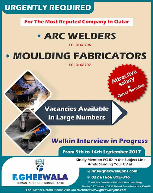 Welder, Fabricator Jobs in Qatar | F. Gheewala Consultants