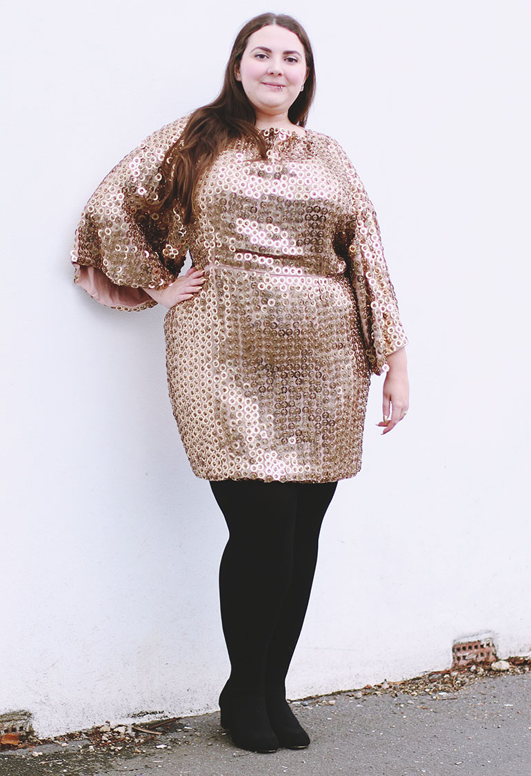 Plus size gold sequin dress