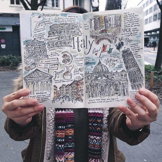 travel journal con dibujos sobre Italia