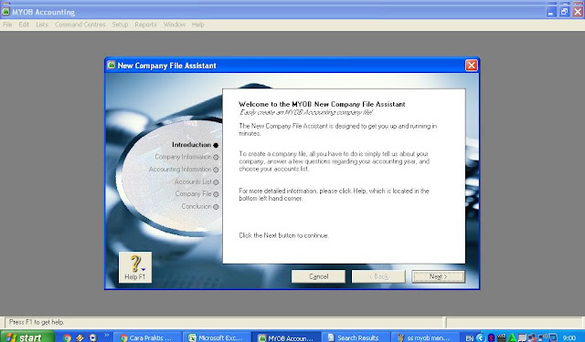 Membuat Data Perusahaan Baru di MYOB