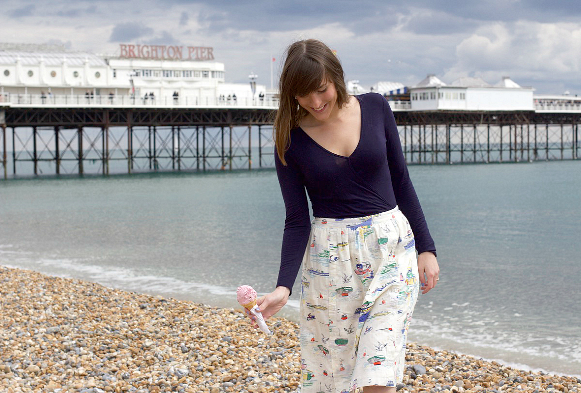 cath kidston button skirt sea view