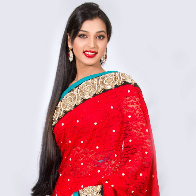 Afiea Nusrat Barsha In Red Saree