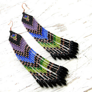Схема длинных серег из бисера - beaded earrings pattern (peyote / brick stitch, fringe)