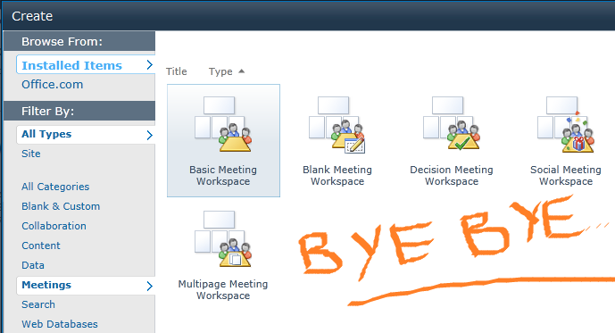 sharepoint 2013 meeting workspace template meeting workspace removed in sharepoint 2013