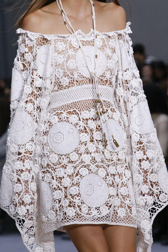 Vestido de renda branca -  Colecção primavera verão  2016 Chloé