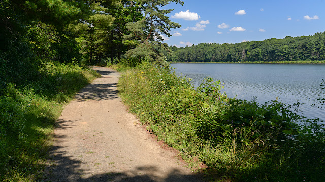 the road around Whiting Street Reservoir below Mt. Tom (photo by Ben Kimball)