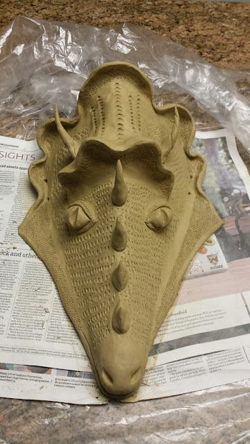 Bob Kingsmill inspired ceramic dragon mask, in progress, by Lily L.