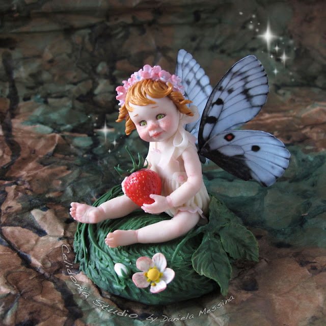 Strawberry Fairy - OOAK Art Doll in Polymer Clay by Celidonia