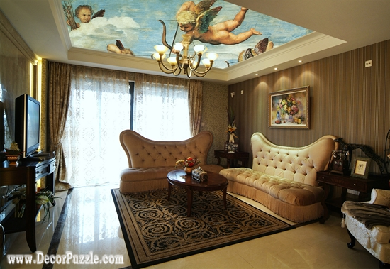 Art Ceiling Murals, Unique Ceiling Design Ideas For Living Room