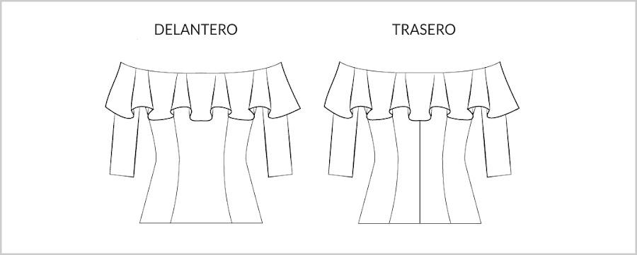 Dibujo plano patrón blusa zahara