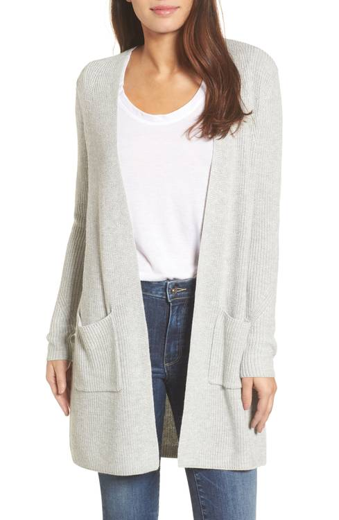 halogen long ribbed cardigan