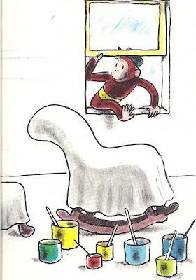 Curious George enters through window while painters are away