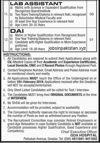 Advertisement for Gwadar Development Authority Jobs