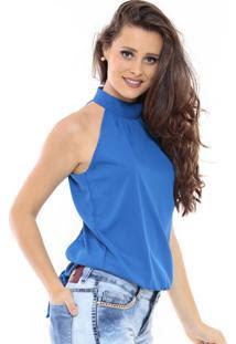 blusinha blusa azul mulher feminina blue blouse shirt camicetta blu bleue linda fashion moda tendencia frente unica gola alta